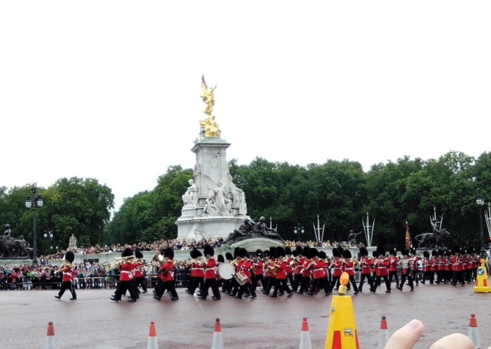 Buckingham Palace Guards marching in