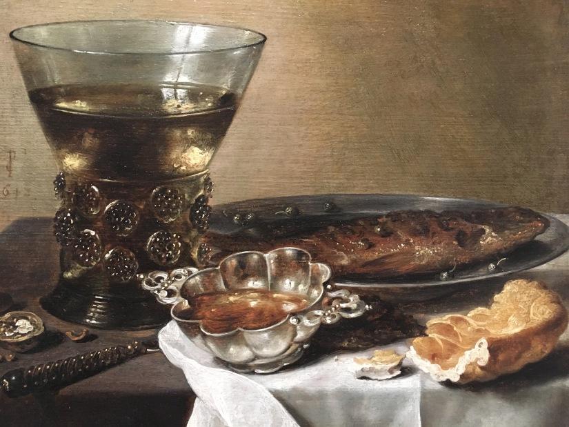 MFA-Still Life with Silver Brandy Bowl, Wine Glass, Herring, and Bread, Pieter Claesz, 1597-1660
