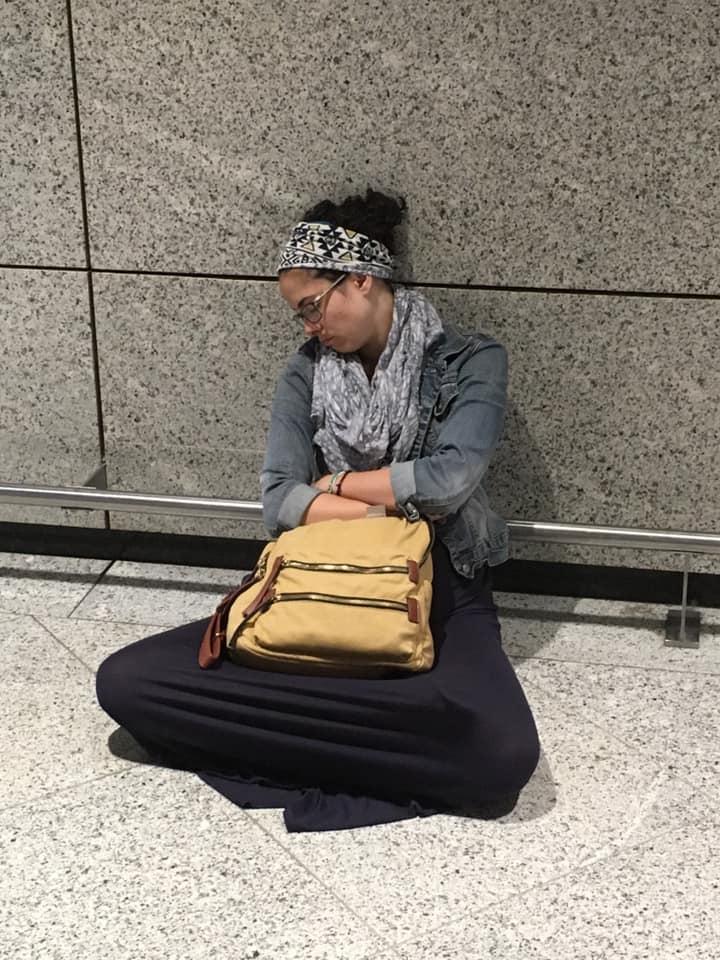 Airport me sleeping